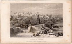Tanger, fellegvár (2), acélmetszet 1837, eredeti, 9x15, metszet, Marokkó, Afrika, kasbah, citadella