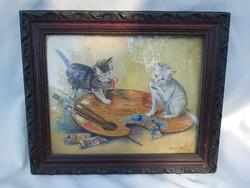 Játszó kismacskák. Pusztai J. 1957.