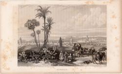 Marokkó, acélmetszet 1837, eredeti, 10 x 14, metszet, Afrika, észak, kereskedelem, arab