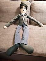 Régi Chaplin figura, 97 cm hosszú, könnyű rongybaba-szerű, egyedi darab!