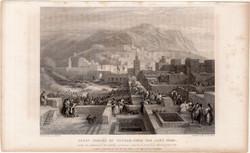 Tetouan, acélmetszet 1837, eredeti, 10 x 14, metszet, Marokkó, Afrika, Tetuán, Nagy tér, zsidó város