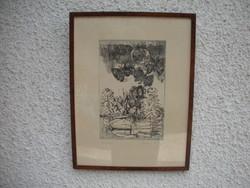 """""""LEPKÉK"""" rézkarc Csohány Kálmán 2 x-es Munkácsy díjas alkotótól, üvegezve, keretezve."""