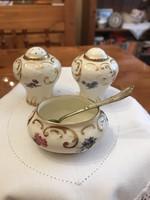 Paragon, angol porcelán asztali só- és borstartó, mustár kínáló
