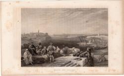 Rabat és Salé, acélmetszet 1837, eredeti, 9 x 14 cm, metszet, Marokkó, Afrika, észak, Sallee