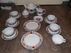 6 személyes Porcelán készlet, kalocsai mintás teáskészlet + 6 darab lapos tányér