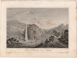 Akszúm, obeliszk, acélmetszet 1832, eredeti, 6 x 9 cm, metszet, Etiópia, Afrika, Axum, királyság