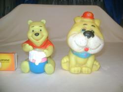 Retro csipogós gumi játék - két darab - Micimackó, kutya figura