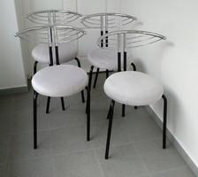 Étkező szék, 4 db modern krómozott fémvázas, szürke huzattal