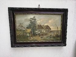 Antik festmény legalább 100éves, falusi festmény, udvar népi élet!