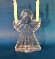 Régi gyertyatartó jégüveg angyal