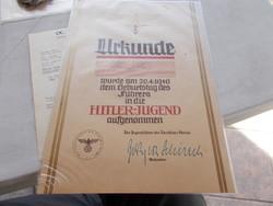 WW2,Hitler jugend tanusitvany,21x30cm
