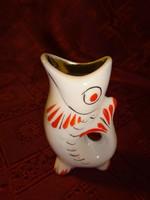 Orosz porcelán, hal formájú pálinkás kupica, magassága 7,5 cm.