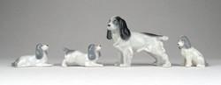 1B474 Régi Metzler - Ortloff porcelán spániel kutya család 4 darab