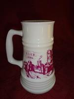 Alföldi porcelán, Eger feliratú söröskorsó, magassága 17 cm.