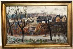 Somogyi Imre (1918 - 1999) Tatai táj háttérben a Kálvária Képcsarnokos festmén EREDETI GARANCIÁVAL !