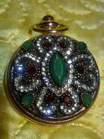 Mesés drágaköves aranyozott ékszeróra női zsebóra medál óra arany
