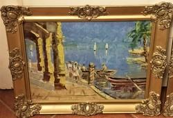Szignált Mediterrán tengerpart festmények PÁRBAN !! 1940 körüli EREDETI GARANCIÁVAL !