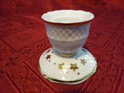 Hollóházi porcelán gyertyatartó, arany csillaggal, magassága 4,5 cm.