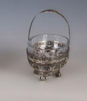 Ezüst barokkok üvegbetétes kínáló