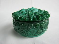 Zöld malachit üveg bonbonier