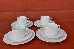 4 db Gyönyörű 3 részes  német Rosenthal fehér   trió szett ,reggeliző szett, ,Gyűjtői szépség