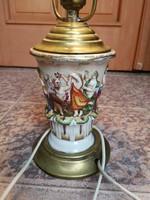 Capodimonte, Nápoly porcelán lámpa domború színes festett különleges luxus jellegű antik darab!