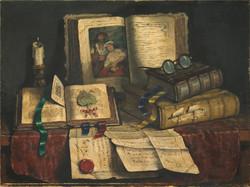 Romek Árpád (1883-1960): Csendélet könyvekkel.