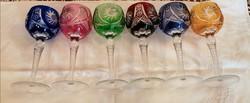 Exclusiv színes boros kristály pohár 6db