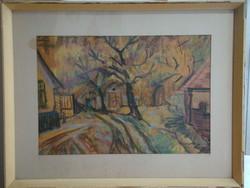 Festmény,Sárkány Jolán Pincék, 64 x 54 cm