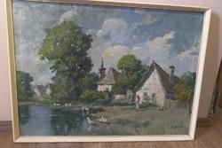 Falusi témájú olajkép, festmény