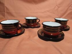 4 db zománcos csésze csészealjjal, bögre, zománcozott