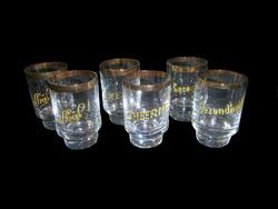 J_073 / 6 db aranyozott likőrös feliratos üveg pohár