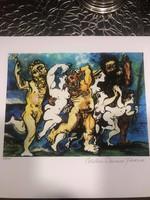 """Pablo PICASSO """"Silenus Dancing"""" Szirének tánca litográfia Limitált kiadású Giclee nyomtatás"""