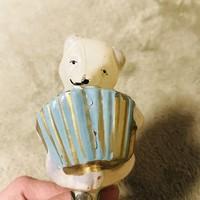 Régi retro antik üveg karácsonyfadísz harmónikázó maci,medve
