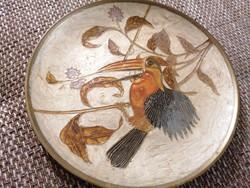 Réz tányér festett madár motívummal. Különleges, gyönyörű