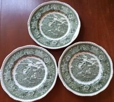 Angol jelenetes porcelán tányér zöld