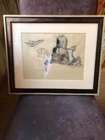 "Lisice elek (lexy) (1939-2007) ""the bender"" 1967 ink pencil on watercolor paper!"