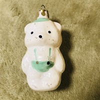 Régi retro antik üveg karácsonyfadísz maci,medve
