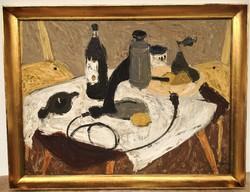 Tamás Ervin (1922 - 1996) Csendélet kávéfőzővel Képcsarnokos festmény 86x66cm Eredeti Garanciával !