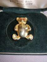 Szép régi Maci bross strasszokkal piros üveg szemekkel 01