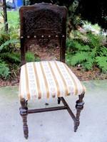 Különleges faragású, bőrtámlás, ónémet szék, tömör fából