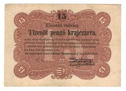 15 pengő krajczárra 1849 T.ro. sorszám