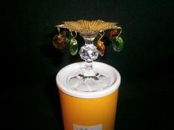 Különleges Bohemia kristály gyertyatartó logó kövekkel díszítve eredeti dobozában