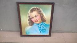 Nagyon bájos portré festmény, jelzett