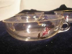 N14 Antik biedermeier teás csokis csészék filigrán aranyozott kis virágok zománc díszes 4 db egyben
