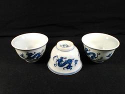 Három sárkány, három teás csésze, kínai porcelán teáscsésze készlet