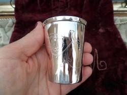 Szecessziós antik ezüst keresztelőpohár