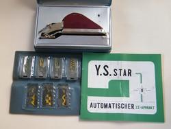 Régi japán Y. S. Star cikkcakk varrógép talpak dobozban