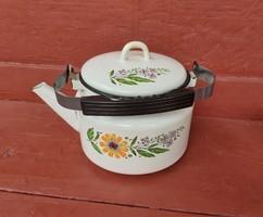 Retro virágos ,Zománcozott ,zománcos teáskanna, teafőző, nosztalgia darab, paraszti dekoráció