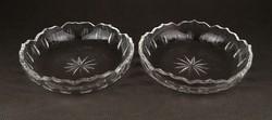 1C258 Régi csiszolt üveg tányér pár 12 cm